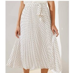 LOFT Cream Textured Polka Dot Midi Skirt